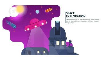 bannière soucoupe volante ufo planant au-dessus du hangar et de l & # 39; observatoire pour les sites Web et mobiles conçoivent une illustration vectorielle plane vecteur