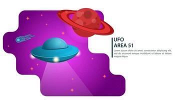 bannière soucoupe volante ufo fait un vol dans l & # 39; espace pour les sites web et mobiles conçoivent une illustration vectorielle plane vecteur