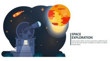 Ciel nocturne avec l'observatoire des planètes radiotélescope observation des corps célestes design concept vecteur plat illustrat
