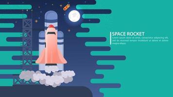illustration de bannière sur le thème du lancement d'un vaisseau spatial depuis le port spatial pour la conception de startups et de sites publicitaires vecteur plat