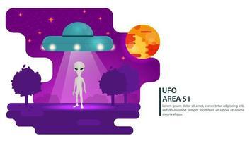 soucoupe volante ufo ramasse un extraterrestre de la terre avec un rayon de lumière design concept illustration vectorielle plane vecteur