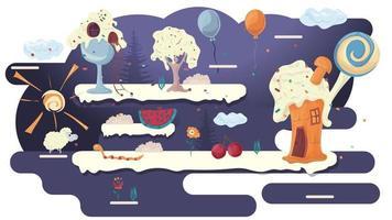 maison, cuisine, gâteaux, dans, a, clairière, de, glaçage, parmi, arbres, fleurs, plat, vecteur, illustration, pour, conception, conception vecteur