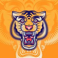 Illustration de tatouage de tête de tigre Old School vecteur