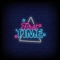 vecteur de texte de style néon pour la première fois