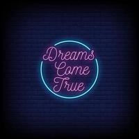 les rêves deviennent réalité vecteur de texte de style enseignes au néon