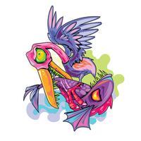 Nouveaux tatouages de Skool Illustration Seagull aquatique ou cigogne chassant et attaquant le poisson vecteur