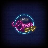 maintenant ouvert vecteur de texte de style enseignes au néon