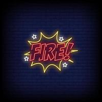 vecteur de texte de style enseignes au néon de feu