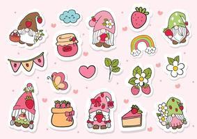 gnomes aux fraises doodle, gnome aux fraises Sticker vecteur