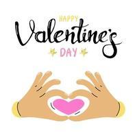 mains en forme de cœur. carte de voeux cadeau pour la Saint-Valentin. calligraphie et éléments de conception dessinés à la main. lettrage à la main. image plate de vecteur