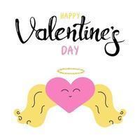 un cœur avec des ailes et un halo. carte de voeux cadeau pour la Saint-Valentin. calligraphie et éléments de conception dessinés à la main. lettrage à la main. image plate de vecteur