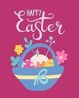 panier de Pâques avec des œufs, des gâteaux et des fleurs. carte de voeux, affiche. illustration vectorielle dans un style plat avec lettrage à la main vecteur