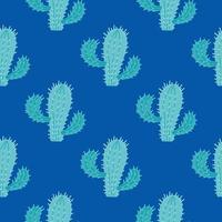 cactus avec des aiguilles sur un fond bleu foncé. modèle sans couture de vecteur