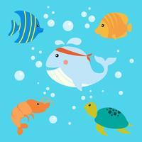 Illustration vectorielle de dessin animé poisson