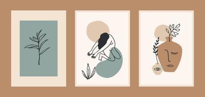ensemble d'estampes d'art contemporain. dessin au trait. conception de vecteur moderne pour affiches, cartes, emballages et plus