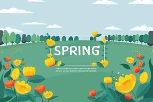 fond de fleurs de printemps - vecteur