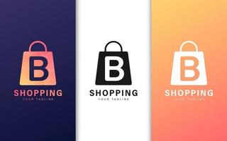 lettre b logo dans un sac à provisions avec un concept moderne vecteur