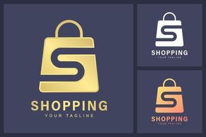 combinaison du logo de la lettre s et du symbole du sac à provisions. le concept d & # 39; un magasin en ligne ou d & # 39; un logo de boutique vecteur