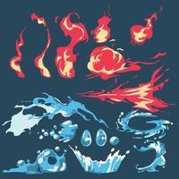 flamme de feu et jeu de bande dessinée éclaboussures d'eau. collection de dessins animés de feu et d'eau - vecteur