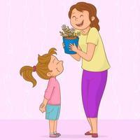 mère reçoit un cadeau de sa fille vecteur