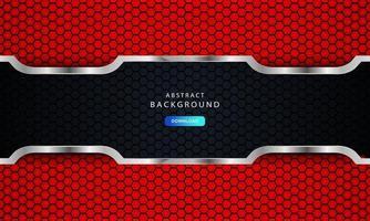 Abstrait rouge foncé sur des lignes métalliques avec motif de maille hexagonale vecteur