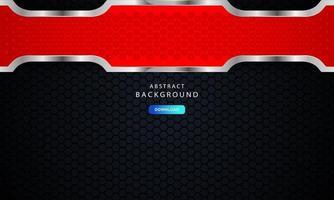 fond métallique abstrait hexagonal rouge avec effet de contour argenté. vecteur