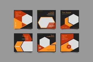 modèle de posts instagram abstrait géométrique élégant vecteur