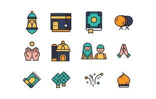 icône plate eid mubarak vecteur
