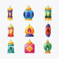 collection d'icônes de lanterne de ramadan vecteur