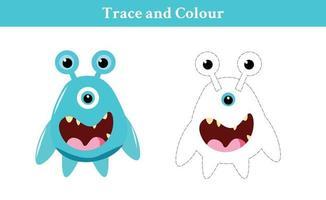 trace et couleur monstre vecteur