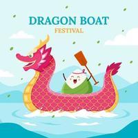 célébration du festival des bateaux-dragons vecteur