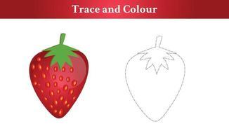 trace et couleur fraise vecteur