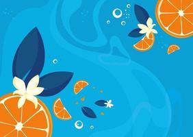 modèle de bannière avec des oranges et de la vanille. vecteur