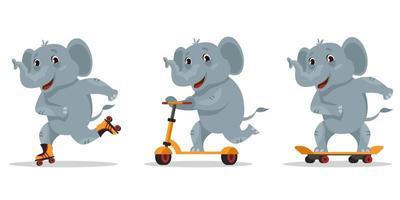 éléphant drôle de bande dessinée. animal à cheval sur planche à roulettes, patins à roulettes et scooter. vecteur