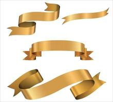 bannières de ruban doré. ensemble de rubans d'or. vecteur