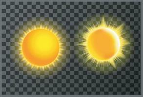 vecteur de rayons de soleil rougeoyant