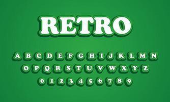 alphabet de polices vertes rétro vecteur