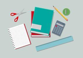 Illustration vectorielle de fournitures scolaires