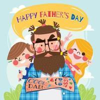 jouer avec papa le jour de l'heureuse fête des pères vecteur