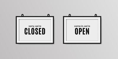 nous sommes fermés et nous sommes une enseigne réaliste ouverte vecteur