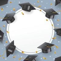 arrière-plan du modèle de chapeau de graduation vecteur