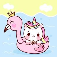 mignon, licorne, vecteur, tenue, fleur, à, flamant rose, caoutchouc, dans, mer, poney, été, dessin animé, kawaii, animaux, fond vecteur