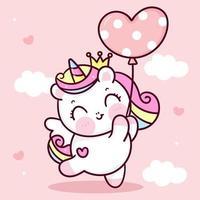 Vecteur de licorne mignon princesse pégase tenant coeur ballon ciel pastel avec doux nuage poney dessin animé kawaii animaux fond cadeau Saint Valentin