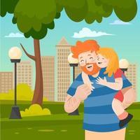 père et fille dans le parc vecteur