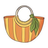 sac de plage rayé jaune et orange dessiné à la main avec foulard vert vecteur