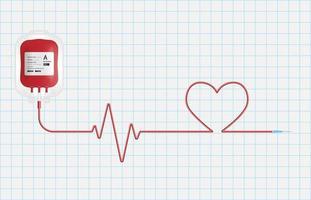 concept de don de sang, poche de sang isolée sur fond de papier millimétré, illustration vectorielle vecteur