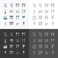 Ensemble d'icônes web linéaire vectoriel - ordinateur de fil de câble et collection de prises électriques d'éléments de conception de couleur plate.