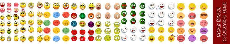 ensemble de visages emoji vecteur