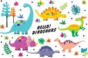dessin animé mignon vecteur de dinosaures. eps 10
