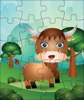 illustration de jeu de puzzle pour les enfants avec un buffle mignon vecteur